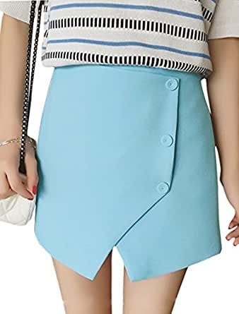 Ladies Buttons Decor Irregular Layer Casual Skorts Sky Blue M