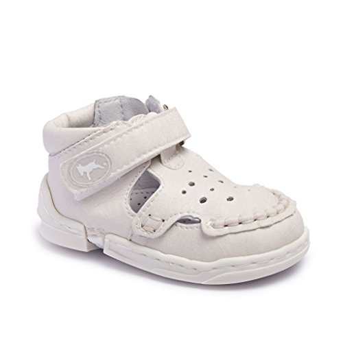 """Kiddie Kicks Zippy Baby Boy and Girl First Walker Shoes White Summer 4-5 (12-24 months – up to 5"""")"""