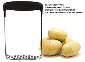 Lifelegance Stainless Steel Potato Masher/Fruit Press with Broad Ergonomic Horizontal Handle Comfortable Grip Fine-Grid Mashing Plate for Smooth Mashed Vegetable Fruits and Baby Food