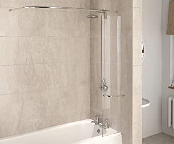 aqua 6 1160078 parete doccia in vetro trasparente per vasca da bagno con telaio