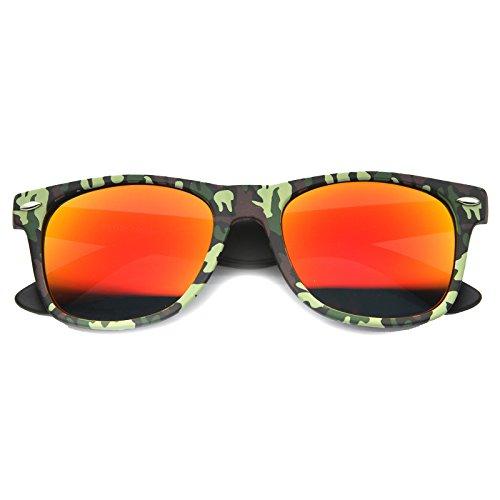 zeroUV - Camo Print Wide Temple Square Colored Mirror Lens Horn Rimmed Sunglasses 54mm (Green / - Wayfarer Sunglasses Camo