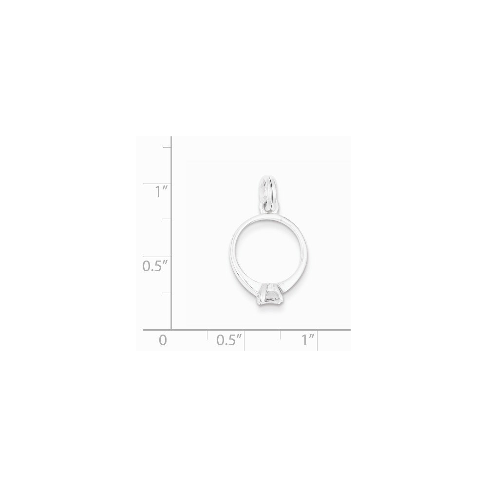 12mm x 25mm Jewel Tie Sterling Silver CZ Cubic Zirconia Polished Ring Pendant Charm