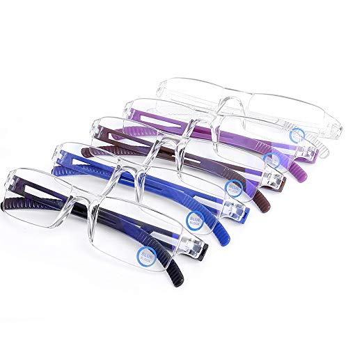 AQWANO 5 Pack lightweight Computer Reading Glasses Blue Light Blocking and UV Protection Rimless Readers Glasses for Women Men +2.5
