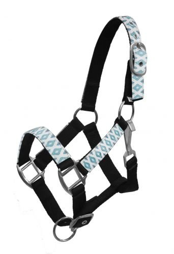 Showman PONY SIZE White, Teal and Brown Print Overlay Black Nylon Halter