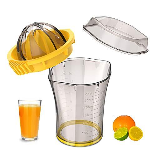 Manual Citrus Orange Squeezer, Lemon Orange Juicer Manual Hand Squeezer with 2 Lid Rotation Press Reamers, 20 oz, Transparent Brown, 1 Cleaning Brush