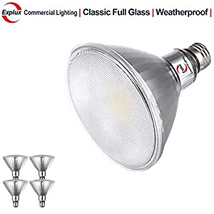 Explux Classic Full-Glass PAR38 LED Flood Light Bulbs, Dimmable, 5000K Daylight, Indoor/Outdoor, 120W Equivalent, 4-Pack
