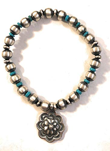 Nizhoni Traders LLC Navajo Sterling Silver Turquoise Beaded Charm Bracelet from Nizhoni Traders LLC
