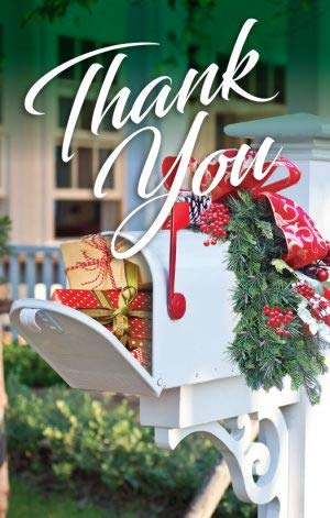 Thank You White Mailbox with Gifts Post Card (Cards Carrier Christmas Mail)
