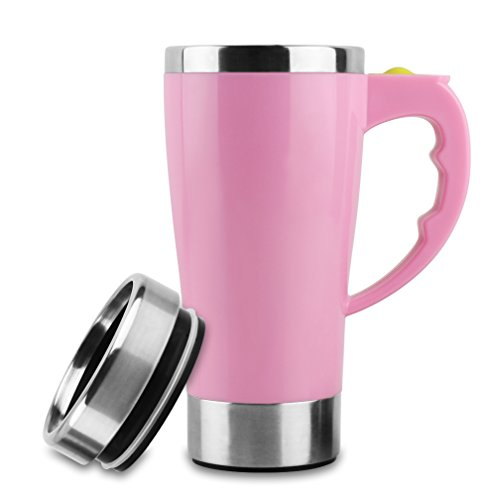 Self Stirring Travel Coffee Mug Stainless Steel Automatic Mixing Cup Pink Without Logo 15.2 ()