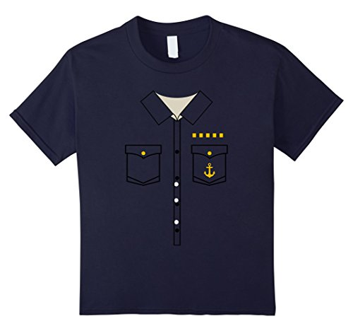 Sailing Boat Costume (Kids Boat Captain Uniform Costume T-Shirt | Halloween Shirt 6 Navy)