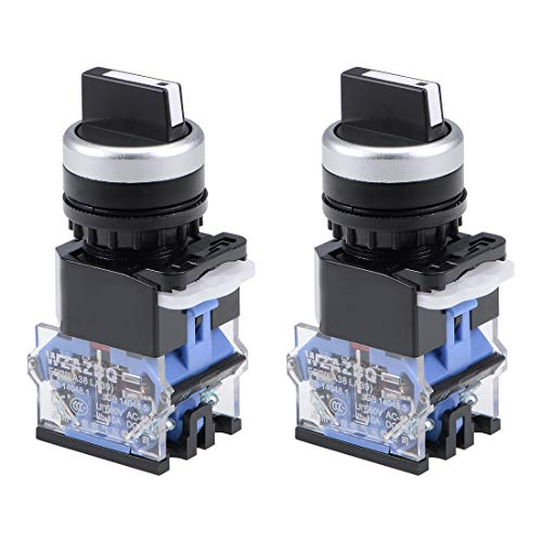 - uxcell Rotary Selector Switch 3 Positions 2NC Self-Lock Latching AC 660V 10A 22mm Panel Mount Set of 2