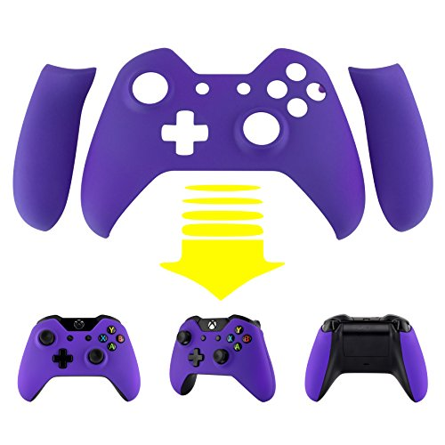 eXtremeRate-Purple-Soft-Touch-Front-Shell-Faceplate-with-Left-Right-Panel-Handle-Side-Rails-for-Microsoft-Xbox-One-Controller