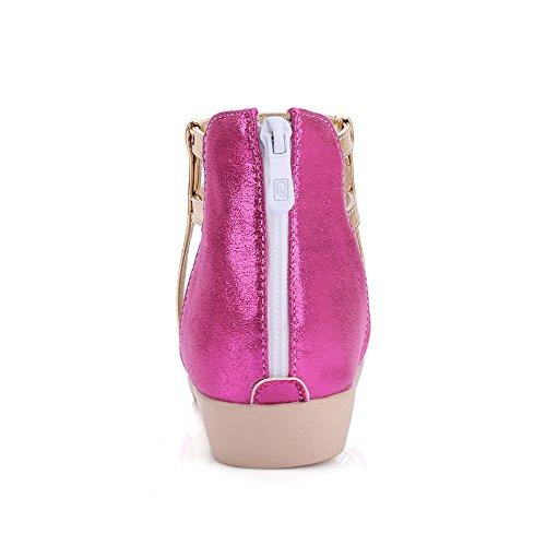 Amoonyfashion Para Mujer Open Toe De Tacón Bajo Material Suave Color Surtido De Sandalias Con Cremallera Rosered