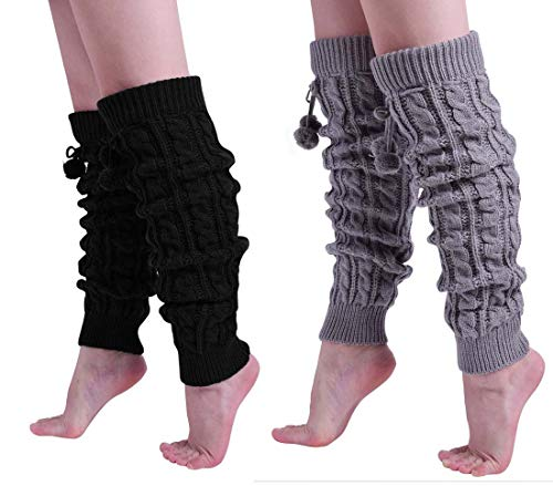 Nanxson Women Girls Long Knitted Twisted Patterns Leg Warmers over Knee pack of 2 TTW0002 (one size, black (Best Nanxson Winter Boots)