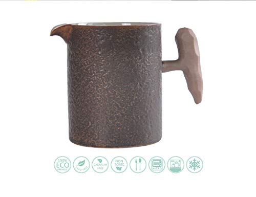 Globe Faith Eco-friendly Stoneware Small Coffee Creamer Pitcher, Rustic Ceramic Milk Frother Pitcher, Vintage Espresso Pitcher, Serving Tea Pitcher, Rocky Texture & Brown Matte Glaze, 12 oz