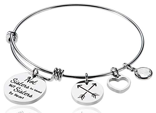 Friendship Bracelet, Best Friends Bracelet, Inspirational Bracelet, Adjustable Bracelet, April Birthstone Bracelet Not Sisters by Blood But Sisters by Heart, Charm Expandable Wire Bangle for Women