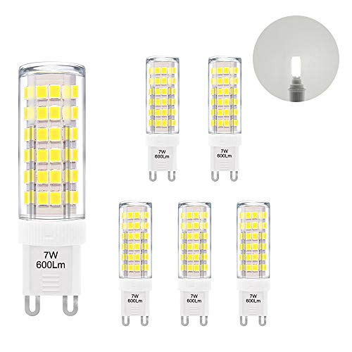 Super Bright 7W G9 GU9 Miniature LED Light Bulbs Capsule Corn Lamp Bulbs Cool White 6000K 600Lm AC110-120V Replace 60W G9 Halogen Light Bulb 6 Pack by Enuotek -