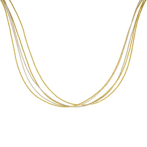 Five Strand Necklace (Japanese Silk Necklace 5 Strand Silver & Yellow, Sterling Silver Clasp, 18 inch)