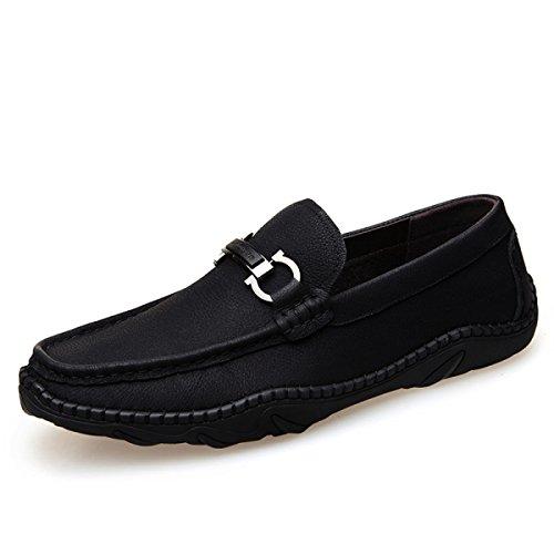LYZGF Hommes Jeunes Printemps-Été Mode Casual Conduite Chaussures En Cuir Paresseux Black HC6P0yD5Iw