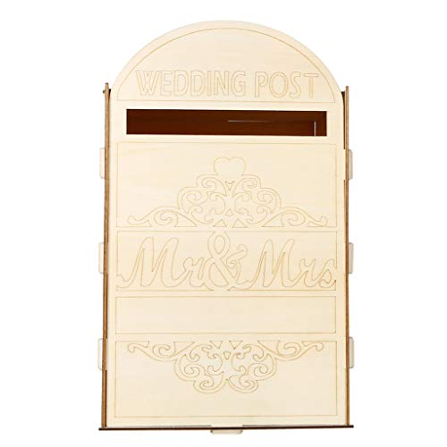 (Hardli Wooden Wedding Post Box Royal Mail Styled Cards Letter Gift,Message Storage Mr & Mrs Heart Decorations)