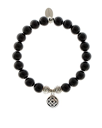 EvaDane Natural Black Onyx Gemstone Tibetan Bead Celtic Knot Charm Stretch Bracelet - Size 9 Inch ( ()