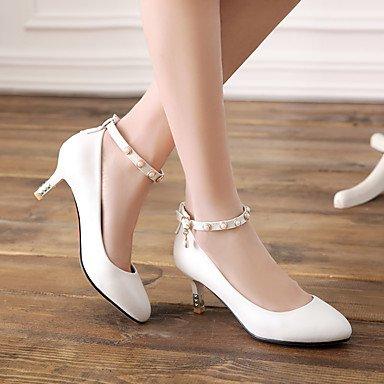Talones de las mujeres Primavera Verano Otoño Invierno Club de los zapatos de la PU de oficina y carrera del partido y vestido de noche bajo el talón Perla Azul Rosa Blanco Pink