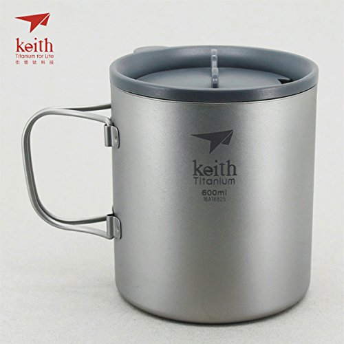 Keith Titanium Double-Wall Mug with Folding Handle and Lid - 20.3 fl oz