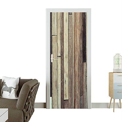 - Homesonne Door Art Sticker Planks Floor Wall Picture American W Tern Rustic Panel Graphic Room decorationW35.4 x H78.7 INCH