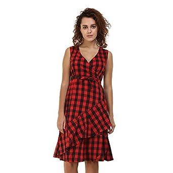 79272f28044 Black   Red Checks Fit Flair Womens Dress By Twenty Whites
