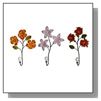 HomeView Design 3-Piece Assorted Flower with Cream White Knob Wall Hook