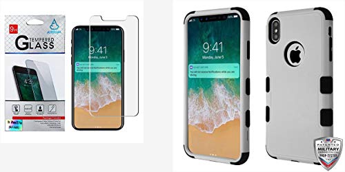 Combo Pack Tempered Glass Screen Protector (2.5D) for Apple iPhone Xs Max and Natural Gray/Black TUFF Hybrid Phone Protector Cover [Military-Grade Certified](with Package) for Apple iPhone Xs Max