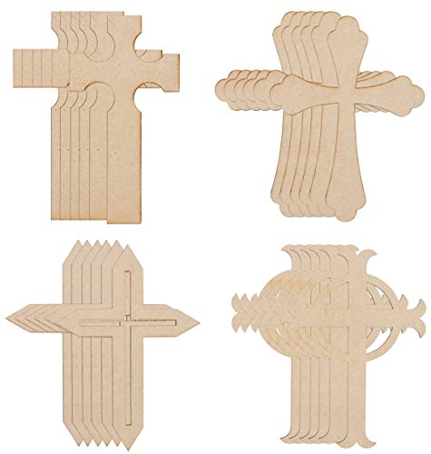 Wood Cutouts - 24-Pack Cross Cutouts, 4 Unfinished Wooden Cross Shapes for DIY Arts and Crafts Projects, Decorations, Ornaments, 6 of Each