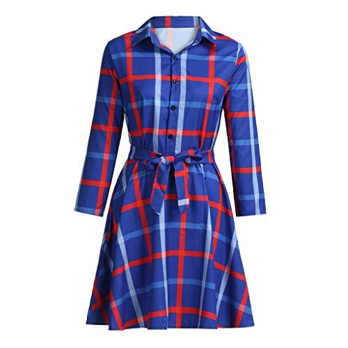 Botrong Women Lapel Plaid Belted Casual A-line Swing Dress Mini Dress -