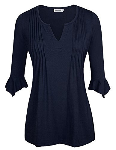 Ninedaily Women's 3/4 Sleeve V Neck Pleated Tunic Tops Navy L (Sexy Grinch)
