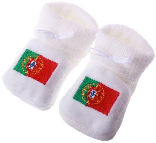 Chaussons bébé brodés drapeau du portugal Happy baby Blanc 0/3mois