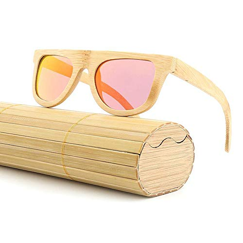 ANLW Mens Polarized Bamboo Wood Sunglasses Retro Round Frame Pilot Driving Sunglasses, Frame Ultra Light UV400 ()