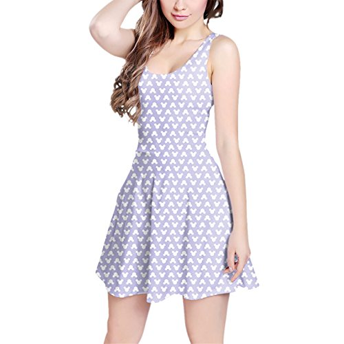 [Mickey Polka Dots Lilac Sleeveless Dress - 3XL XS-3XL Skater Stretch Flare Dress] (Mickey Dress)