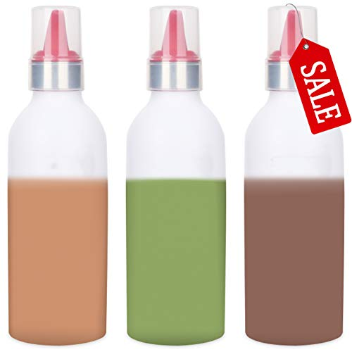 SUJUDE Plastic Squeeze Bottles for Sauces with Lids, Kitchen Squeeze Bottle for BBQ Sauce, Condiments, Salad Dressings and Ketchup, No BPA, FDA Approved, 16 Ouce Pack of 3