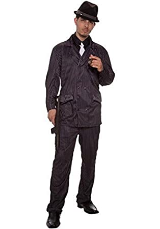 Mens Black Pinstripe 1920s Gangster Suit Bugsy Malone Fancy Dress Costume Outfit