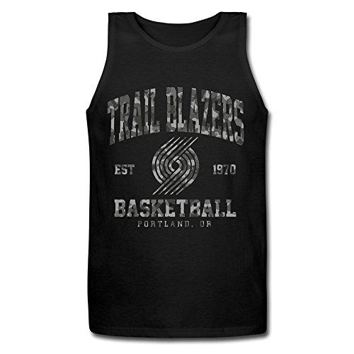 WYKY Mens Portland Trail Blazers Camo Stack Basketball Blacktank Top (Portland Trailblazers Tank Top)