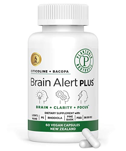 Plantonin Brain Alert Plus, Mind and Memory Support Supplement, Nootropic, Brain Booster with Citicoline, Bacopa, Lions…
