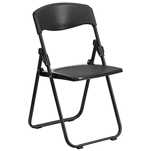 - Flash Furniture HERCULES Series 880 lb. Capacity Heavy Duty Black Plastic Folding Chair with Built-in Ganging Brackets