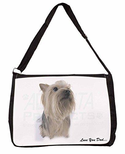 Yorkshire Terrier Love You Dad Large 16 Black School Laptop Shoulder Bag