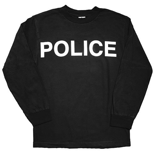 Car White Adult T-shirt - Fox Outdoor Products Police White Imprint Long Sleeve Imprinted T-Shirt, Black, Medium