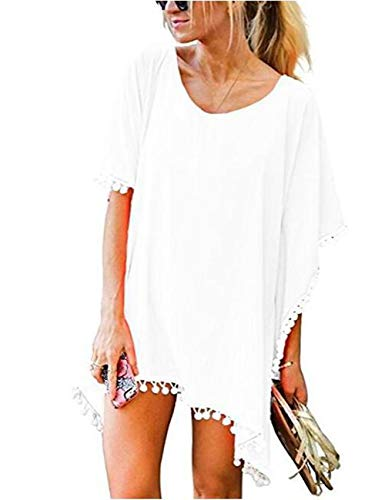 LOMON Women's Chiffon Tassel Swimsuit Beach Bikini Cover Ups for Swimwear White