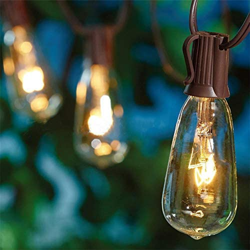 Outdoor String Lights 20Ft with 20 Edison Bulbs Vintage Bistro ST40 String Lights Waterproof UL Listed Patio String Lights for Garden Backyard Party Wedding-Brown