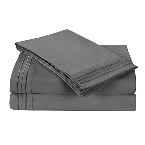 HollyHOME Collection 4 Pieces Ultra Soft Embroidered Bed Sheet Sets Deep Pocket Brushed Microfiber 1800 Bedding for Queen Bed, Grey