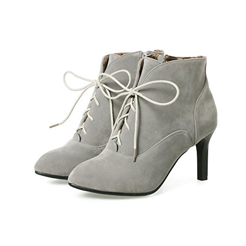 BalaMasa Womens Slip-Resistant Pointed-Toe Spikes Stilettos Suede Boots ABL10025 Gray bLIMEeAV