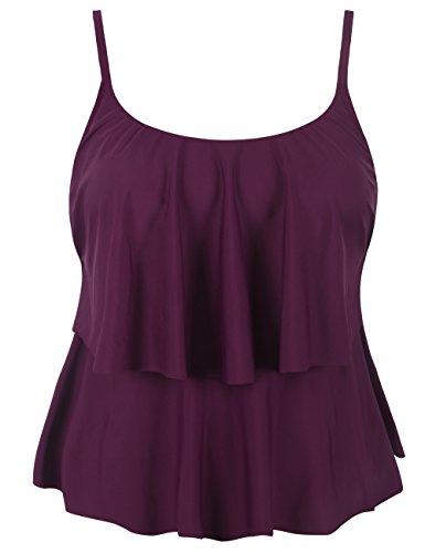 Hilor Women's Tiere Tankini Top Ruffle Swimwear Solid Swim Tops Burgundy 14 ()