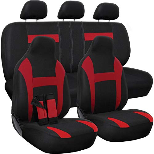 OxGord Car Seat Cover - Poly Cloth Two-Tone with Front Low Bucket and 50-50 or 60-40 Rear Split Bench - Universal Fit for Cars, Truck, SUV, Van - 10 pc Complete Set (Car Seat Covers Nissan Versa 2018)